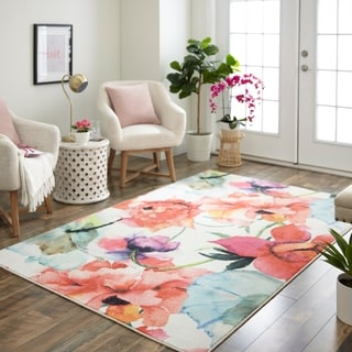 Link to Mohawk Home Watercolor Bouquet Area Rug Similar Items in Patterned Rugs