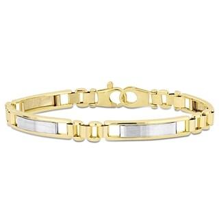 Miadora 2-Tone 18k Yellow and White Gold Men's Link Bracelet