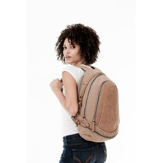 Handmade MONREAUX Pearl Leather and Canvas Backpack