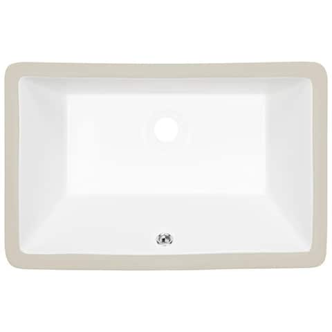 B3 Ticor 20.75 in. Belfast Series Ceramic Undermount Rectangular Vanity Sink with Overflow