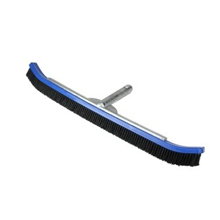 24'' Blue Curved Nylon Bristle Pool Wall Brush with Aluminum Handle