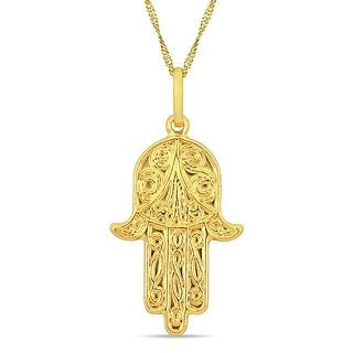 Miadora 18k Yellow Gold Fine-Detailed Hamsa Dangle Necklace