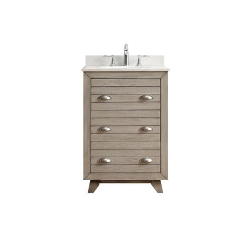 OVE Decors Clyde 24 in. Nature Grey Single Sink Vanity with White Marble Top - nature grey