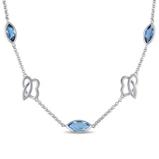 Miadora Sterling Silver London & Swiss-Blue Topaz Marquise Station Necklace