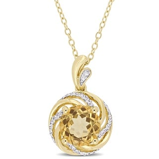 Miadora Yellow Plated Sterling Silver Citrine White Topaz Diamond Swirl Halo Necklace