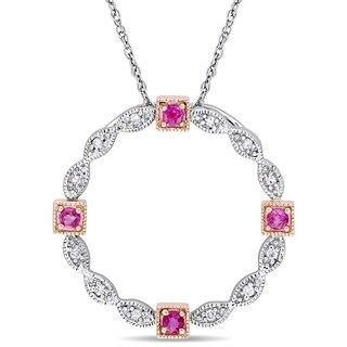 Miadora 2-Tone 10k White and Rose Gold Pink Sapphire Diamond Infinite Circle Necklace