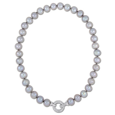 Miadora Sterling Silver Grey Cultured Freshwater Pearl Necklace with CZ Clasp (12-13mm)
