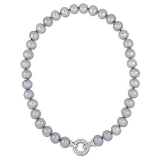 Miadora Sterling Silver Grey Cultured Freshwater Pearl Necklace With CZ Clasp 12 13mm