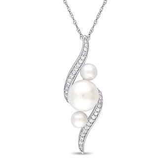 Miadora 10k White Gold Cultured Freshwater Pearl 1/8ct TDW Diamond Twist Necklace (8-9mm)