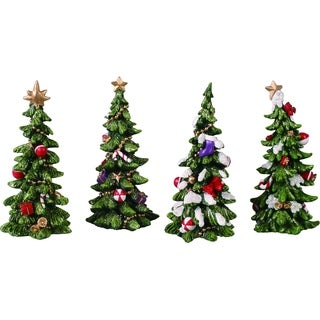 "Resin Holiday Tree Figurine Set of 4 - 3""lx3""wx6""h"