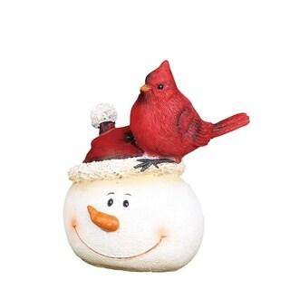"Resin Snowman with Cardinal Figurine - 3.75""lx3""wx4.5""h"