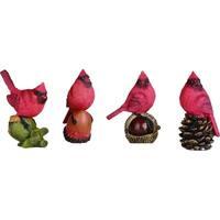 """Mini Resin Cardinal on Nut Figurine Set of 4 - 2.75""""lx1.75""""wx3.75""""h"""