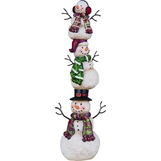"""Resin Stacked Snowman Figurine - 3.75""""lx2.25""""wx10.75""""h"""