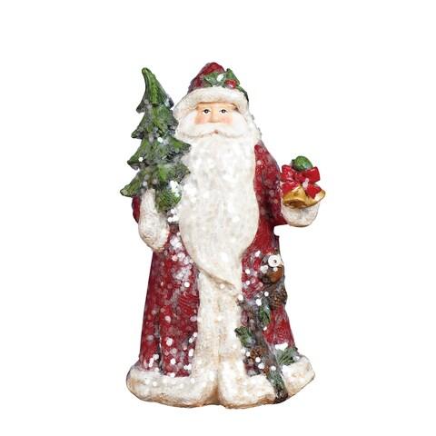 "Resin Sparkle Santa Figurine - 4""lx3.25""wx8""h"