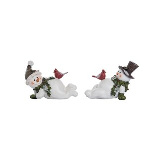 "Resin Snowman with Cardinal Figurine - 6""lx3.25""wx4""h"
