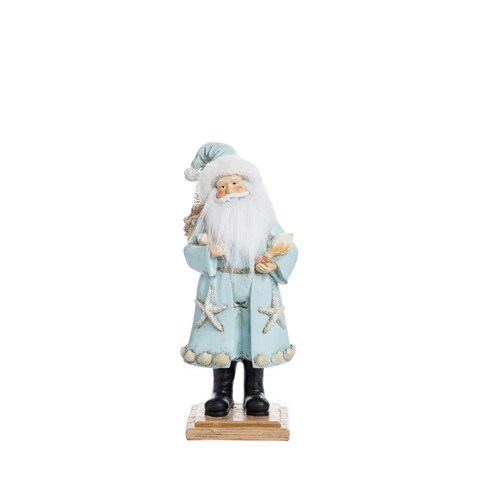 "Resin Coastal Christmas Santa Figurine - 5.25""lx4.5""wx12.75""h"