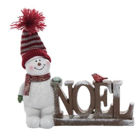 "Resin NOEL Snowmen - 6.75""lx1.5""wx5""h"