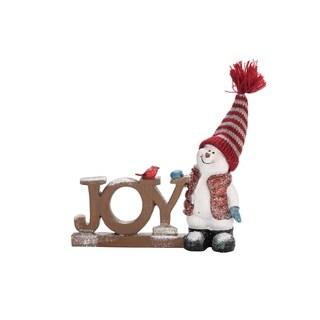 """Resin JOY Snowmen - 6.75""""lx1.5""""wx5""""h"""