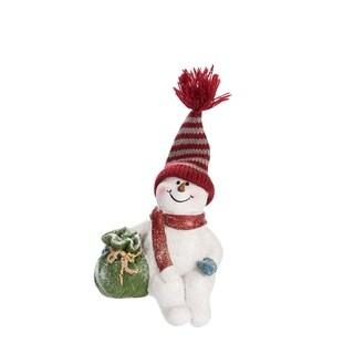 "Resin Sitting Snowman Figurine - 4""lx3""wx4.75""h"
