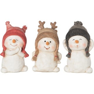 "Resin Snowman Figurine Set of 3 - 3.5""lx3.25""wx5.5""h"