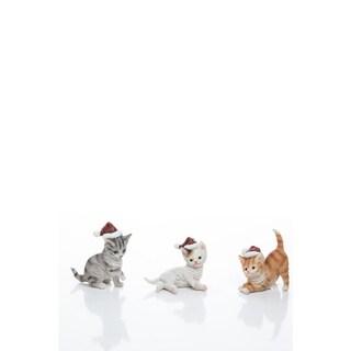 "Resin Santa Hat Kitten Figurine Set of 3 - 3.5""lx2""wx4""h"