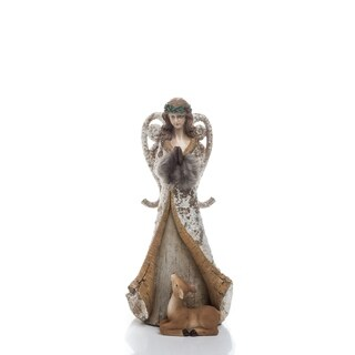 """Small Resin Rustic Angel Figurine - 6""""lx5.5""""wx12.75""""h"""