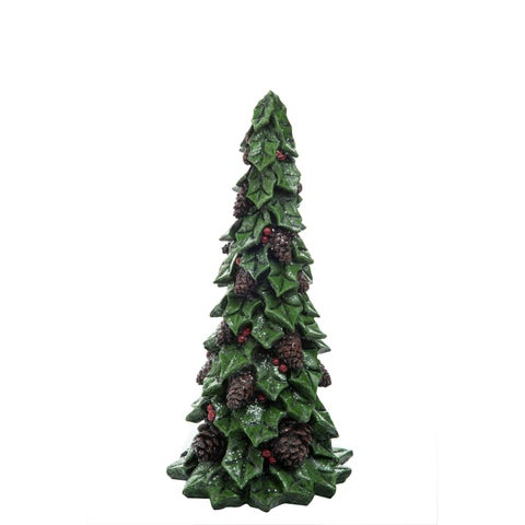 "Medium Resin Holly Tree Figurine - 6""lx6""wx12.5""h"