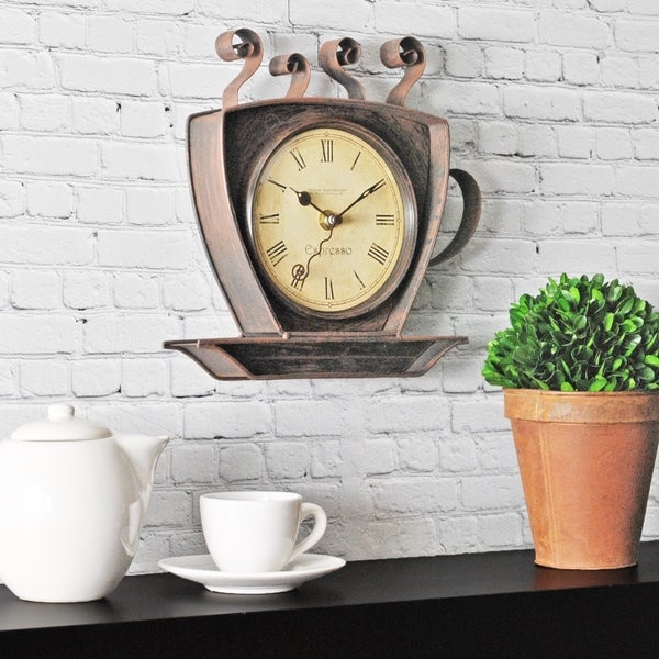 Firstime Co Bronze Coffee Cup Wall Clock