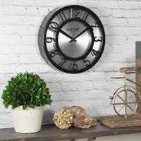 FirsTime & Co® Black on Steel Wall Clock