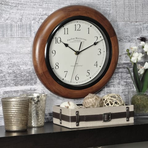FirsTime & Co® Walnut Round Wall Clock - 11""