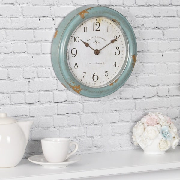 """FirsTime & Co® Teal Patina Wall Clock - 8.5"""""""