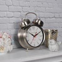 FirsTime & Co® Silver Twin Bell Tabletop Clock