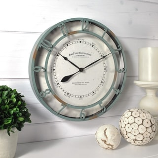 "FirsTime & Co® Timeworn Aqua Wall Clock - 11"""