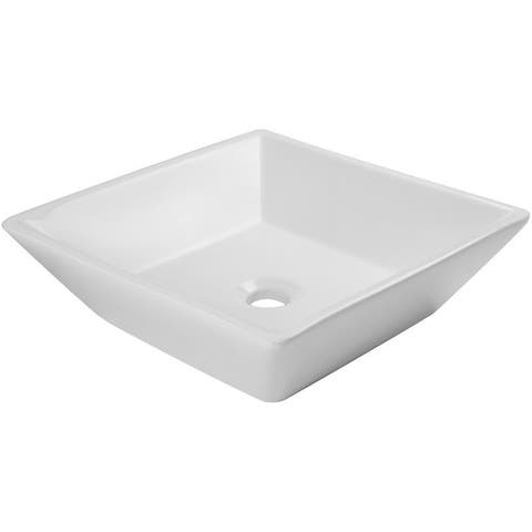 V2050 Ticor 16 in. Nautilus Series Ceramic Square Vessel Sink