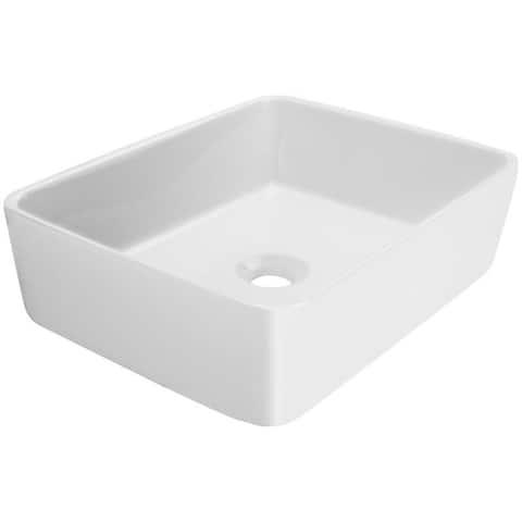 V2055 Ticor 19.25 in. Nautilus Series Ceramic Rectangular Vessel Sink