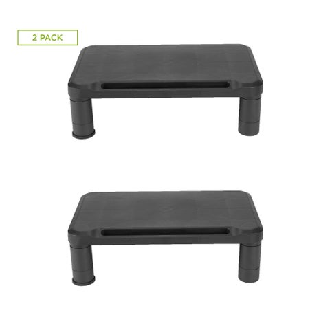 Mind Reader Small Monitor Stand, Durable Plastic Monitor Riser, for Computer Monitor, Laptop, PC, MacBook - 2 Pack, Black