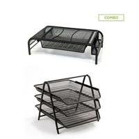 Mind Reader Metal Mesh Monitor Stand with Drawer Organizer, and  3 Tier Steel Mesh Paper Tray Desk Organizer, Black 2 Pc Set