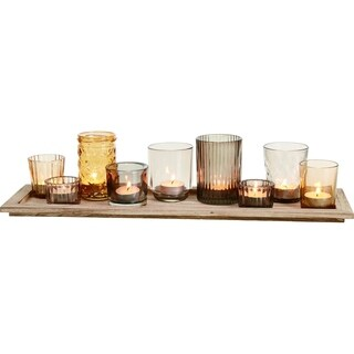 Glass Harvest Candleholder with Wooden Tray Set of 10