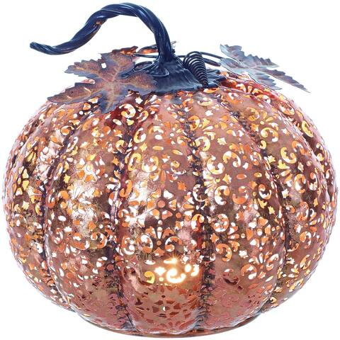 Small Metal Filigree Pumpkin Tealight Holder