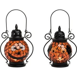 Mosaic Glass Jack-O-Lantern Candleholder Set of 2