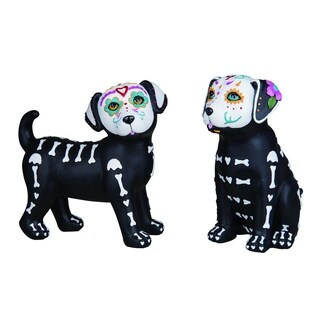 Resin Day of the Dead Puppy Figurine Set of 2