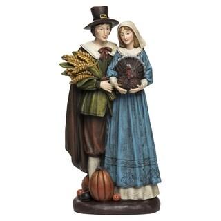 Resin Harvest Pilgrim Couple Figurine