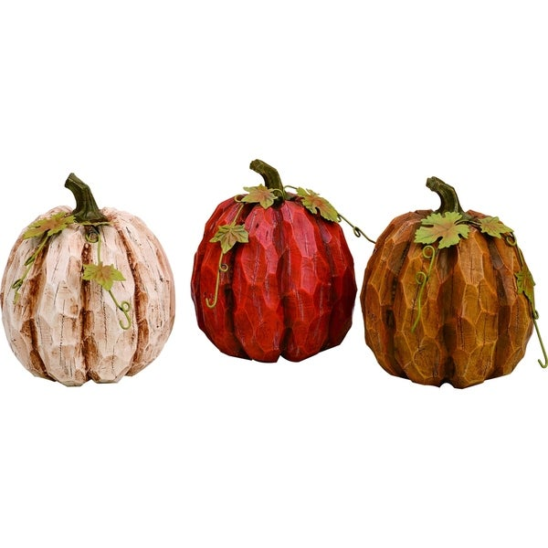 Small Resin Pumpkin Figurine Set of 3