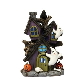 Mini Resin Light Up Haunted Ghost House