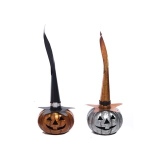Small Metal Jack-O-Lantern withTall Hat Set of 2