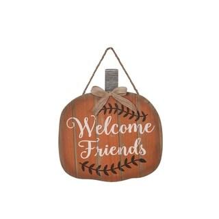 """""""Welcome Friends"""" Wood Pumpkin Wall Art"""