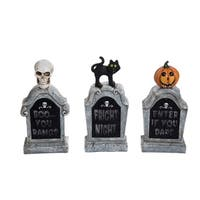 Resin Light Up Tombstone Set of 3