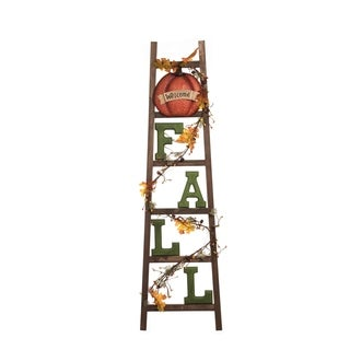 Wood Light Up Fall Ladder Decor