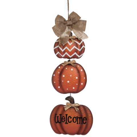 Metal Pumpkin Greeting Decor