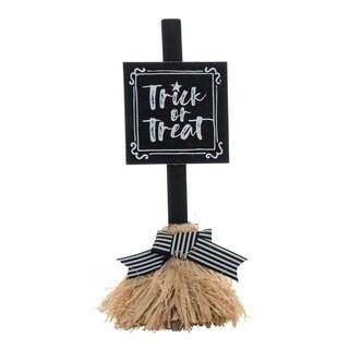 Small Wood & Straw Broom Decor